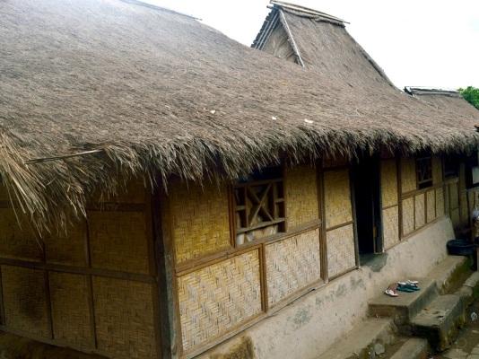 Rumah adat. Semua rumah memiliki bentuk yang mirip. Atap rumput ilalang, dinding dari anyaman bambu dan pintunya rendah.